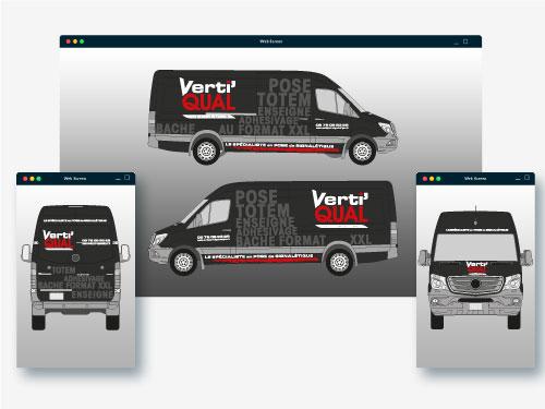 Réalisation total covering de camion pour une entreprise de pose de signalétique