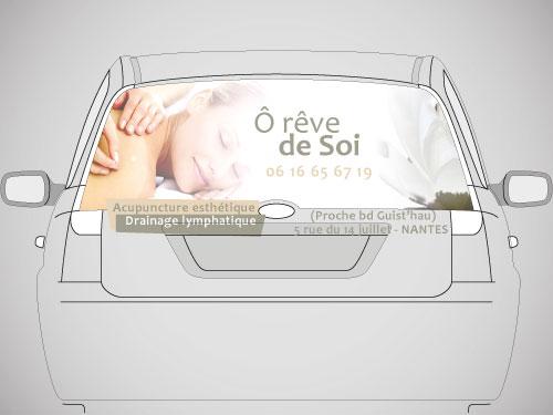 Réalisation publicité lunette arrière salon acupuncture nantes