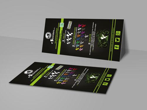 Réalisation flyers imprimés pour un site e-commerce de déco moto