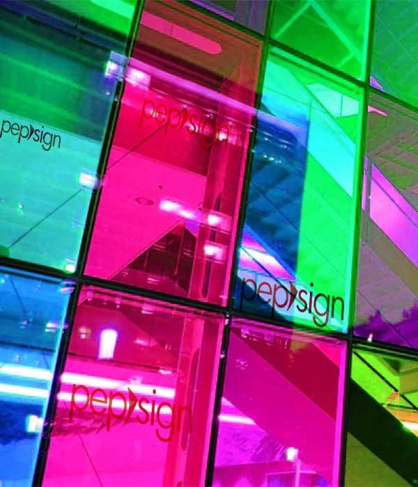 façade vitrée adhésivée colorée