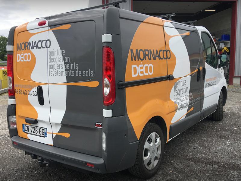 Covering imprimé d'un camion de peintre décorateur pour Verti'qua