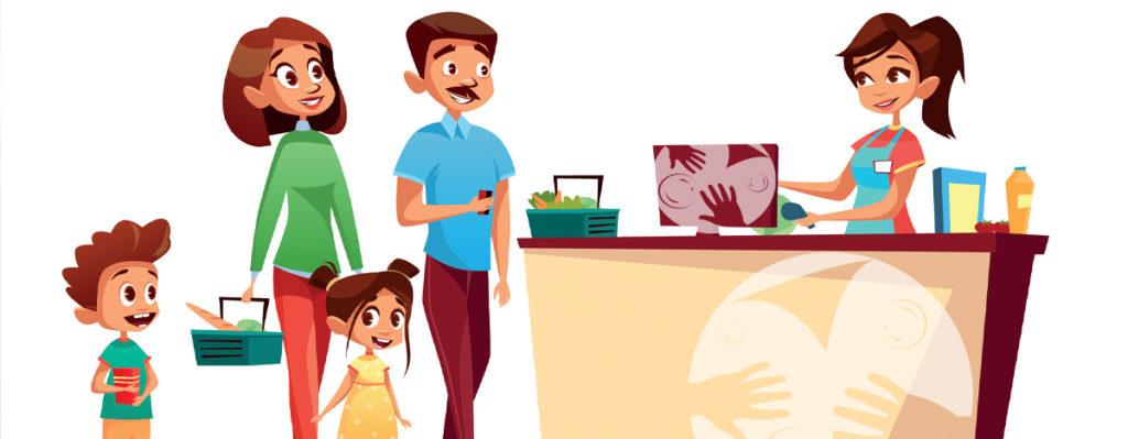 Protection anti microbienne caisses de supermarché