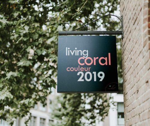 Enseigne drapeau avec la couleur 2019 living coral
